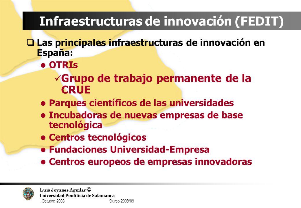 Luis Joyanes Aguilar © Universidad Pontificia de Salamanca. Octubre 2008 Curso 2008/09 Infraestructuras de innovación (FEDIT) Las principales infraest