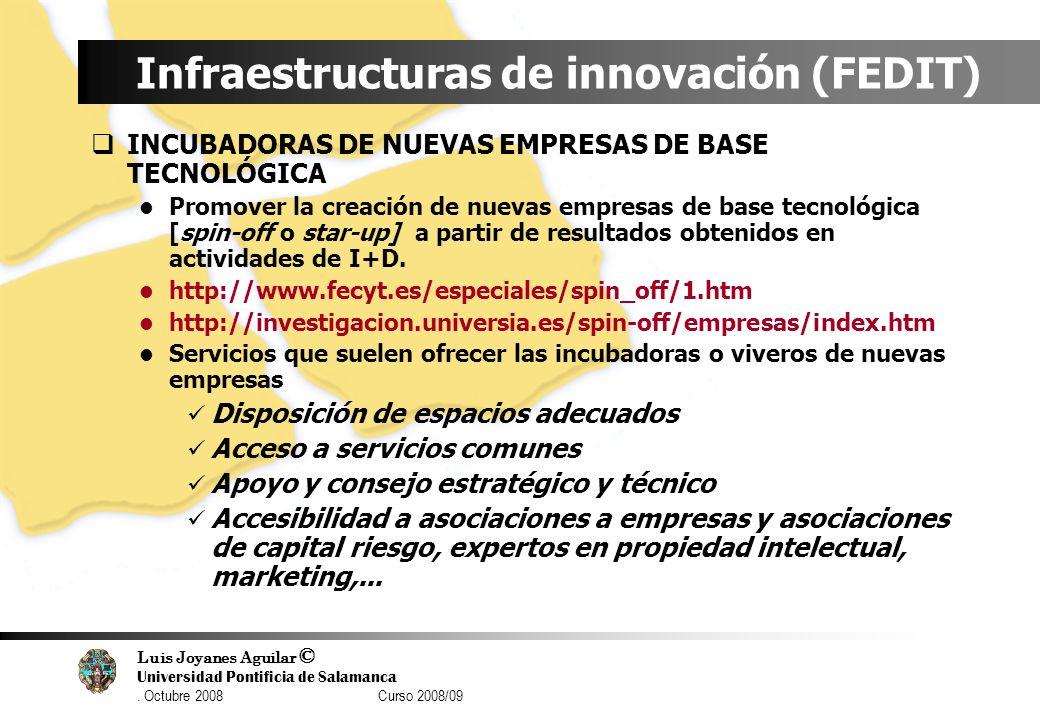 Luis Joyanes Aguilar © Universidad Pontificia de Salamanca. Octubre 2008 Curso 2008/09 Infraestructuras de innovación (FEDIT) INCUBADORAS DE NUEVAS EM