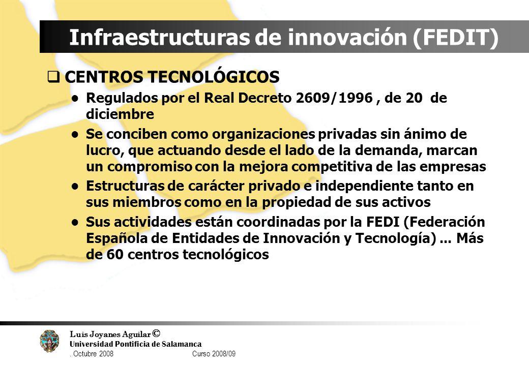 Luis Joyanes Aguilar © Universidad Pontificia de Salamanca. Octubre 2008 Curso 2008/09 Infraestructuras de innovación (FEDIT) CENTROS TECNOLÓGICOS Reg