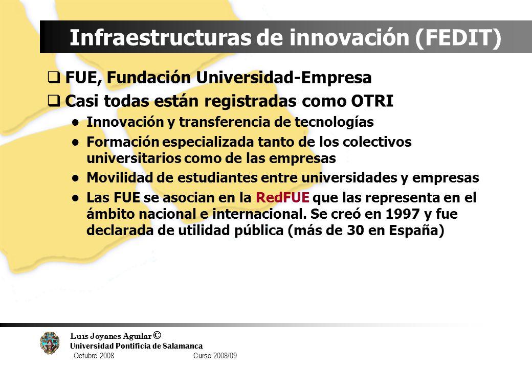 Luis Joyanes Aguilar © Universidad Pontificia de Salamanca. Octubre 2008 Curso 2008/09 Infraestructuras de innovación (FEDIT) FUE, Fundación Universid