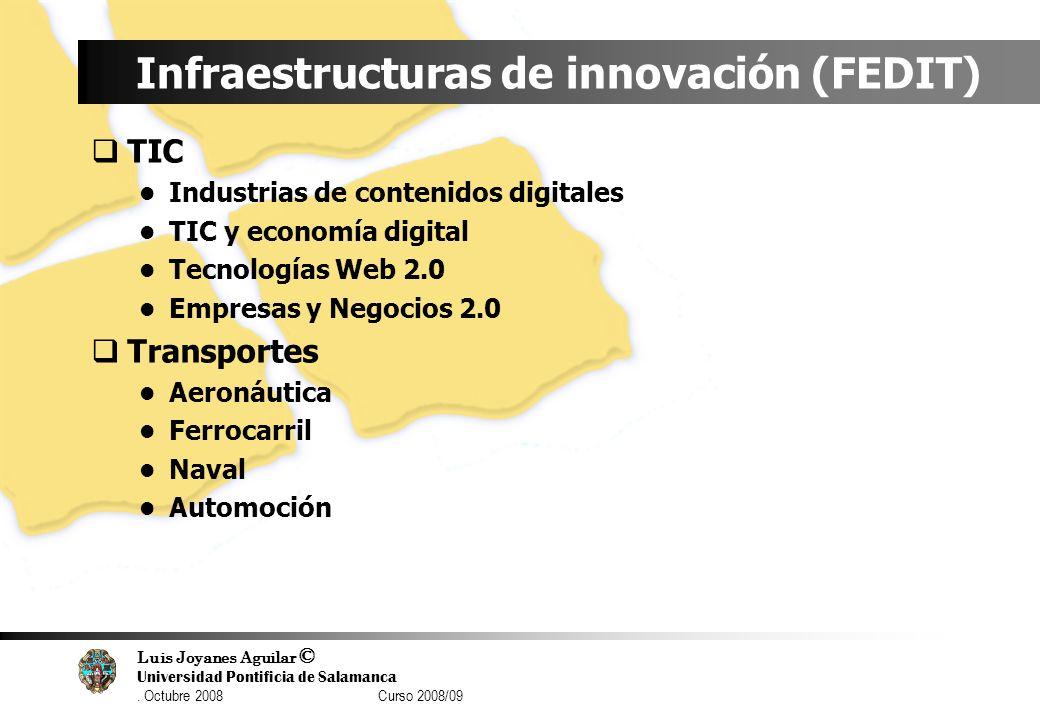 Luis Joyanes Aguilar © Universidad Pontificia de Salamanca. Octubre 2008 Curso 2008/09 Infraestructuras de innovación (FEDIT) TIC Industrias de conten