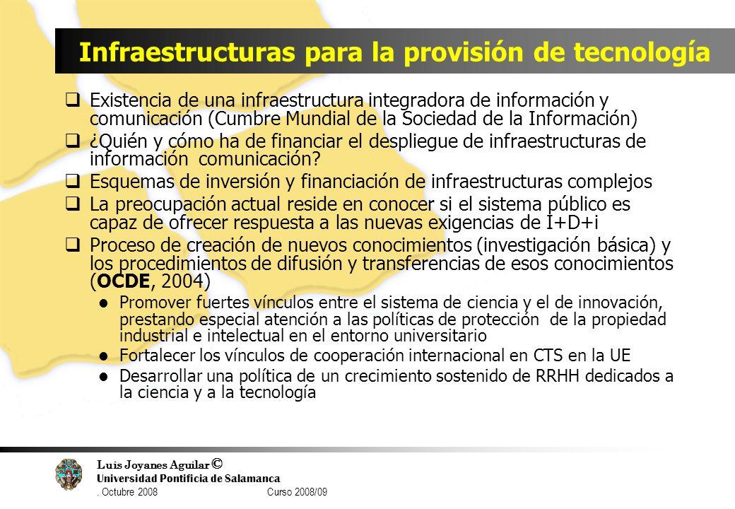 Luis Joyanes Aguilar © Universidad Pontificia de Salamanca. Octubre 2008 Curso 2008/09 Infraestructuras para la provisión de tecnología Existencia de