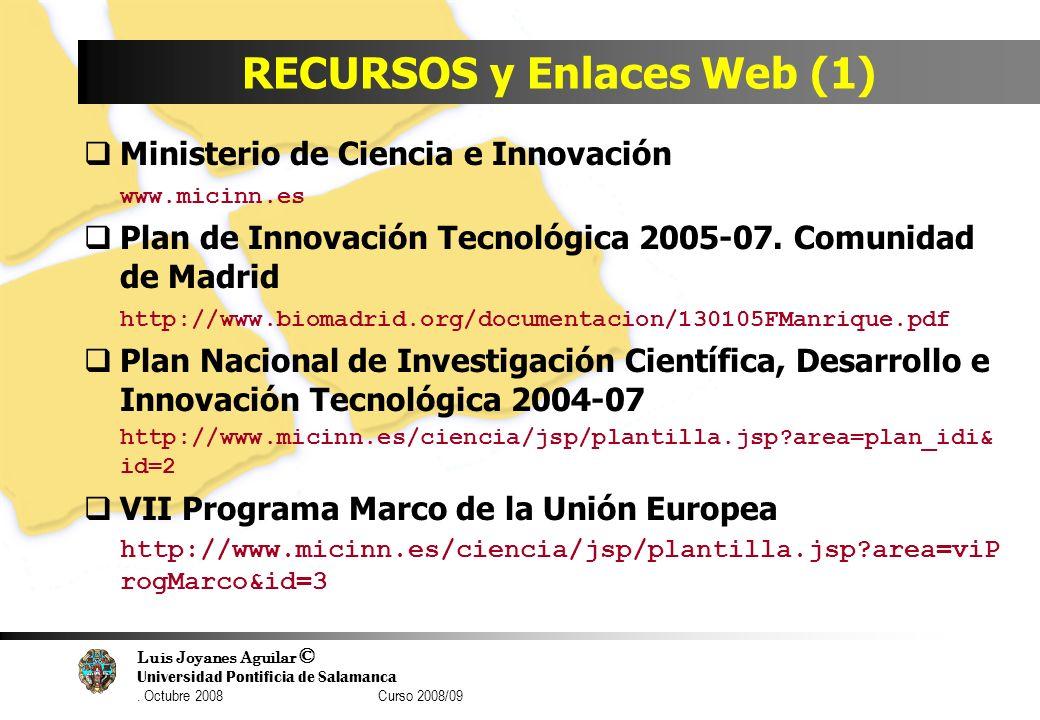 Luis Joyanes Aguilar © Universidad Pontificia de Salamanca. Octubre 2008 Curso 2008/09 RECURSOS y Enlaces Web (1) Ministerio de Ciencia e Innovación w