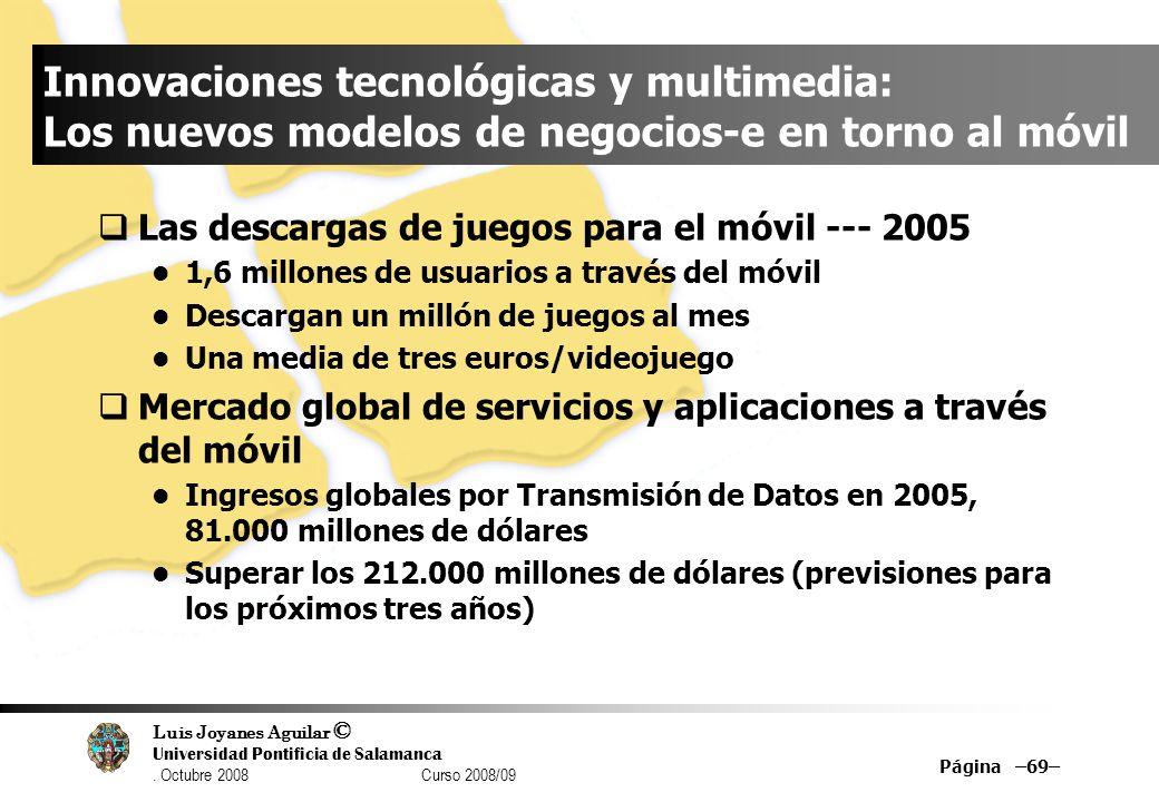 Luis Joyanes Aguilar © Universidad Pontificia de Salamanca. Octubre 2008 Curso 2008/09 Página –69– Innovaciones tecnológicas y multimedia: Los nuevos