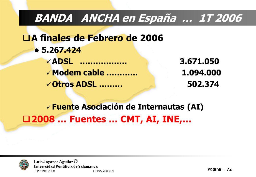 Luis Joyanes Aguilar © Universidad Pontificia de Salamanca. Octubre 2008 Curso 2008/09 Página –72– BANDA ANCHA en España … 1T 2006 A finales de Febrer