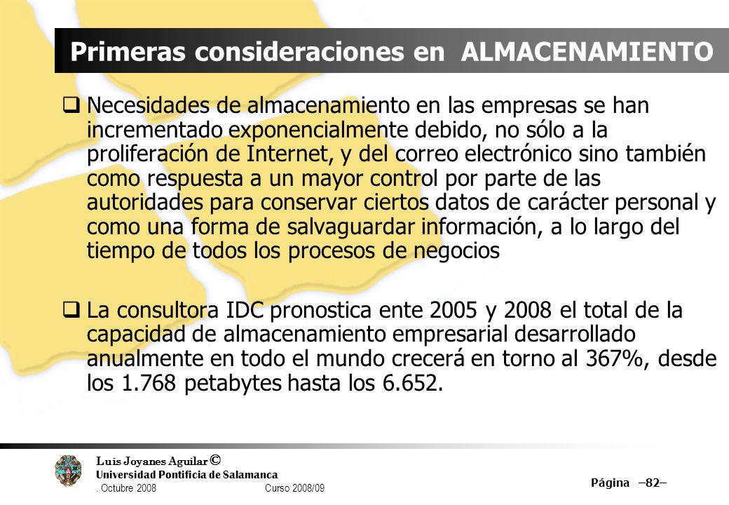 Luis Joyanes Aguilar © Universidad Pontificia de Salamanca. Octubre 2008 Curso 2008/09 Página –82– Primeras consideraciones en ALMACENAMIENTO Necesida