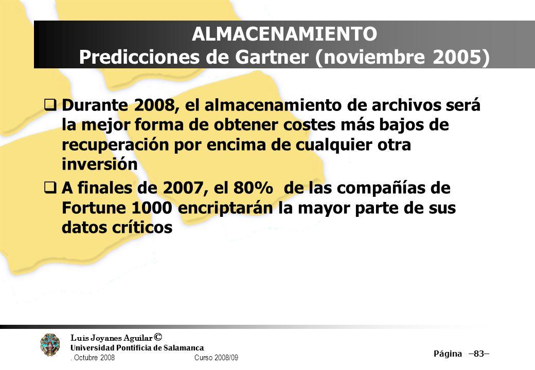 Luis Joyanes Aguilar © Universidad Pontificia de Salamanca. Octubre 2008 Curso 2008/09 Página –83– ALMACENAMIENTO Predicciones de Gartner (noviembre 2