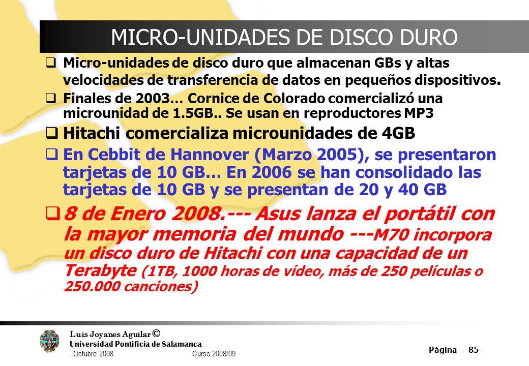 Luis Joyanes Aguilar © Universidad Pontificia de Salamanca. Octubre 2008 Curso 2008/09 Página –85– MICRO-UNIDADES DE DISCO DURO Micro-unidades de disc