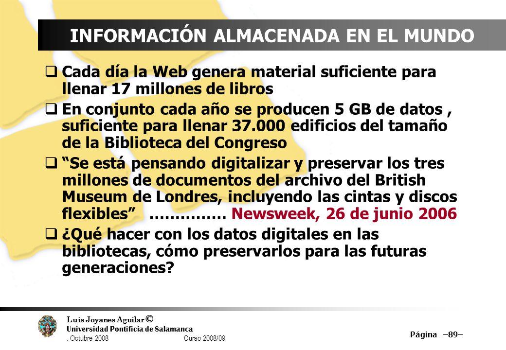 Luis Joyanes Aguilar © Universidad Pontificia de Salamanca. Octubre 2008 Curso 2008/09 Página –89– INFORMACIÓN ALMACENADA EN EL MUNDO Cada día la Web