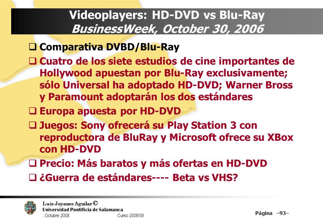 Luis Joyanes Aguilar © Universidad Pontificia de Salamanca. Octubre 2008 Curso 2008/09 Página –93– Videoplayers: HD-DVD vs Blu-Ray BusinessWeek, Octob