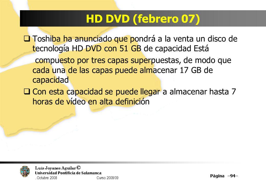 Luis Joyanes Aguilar © Universidad Pontificia de Salamanca. Octubre 2008 Curso 2008/09 HD DVD (febrero 07) Toshiba ha anunciado que pondrá a la venta