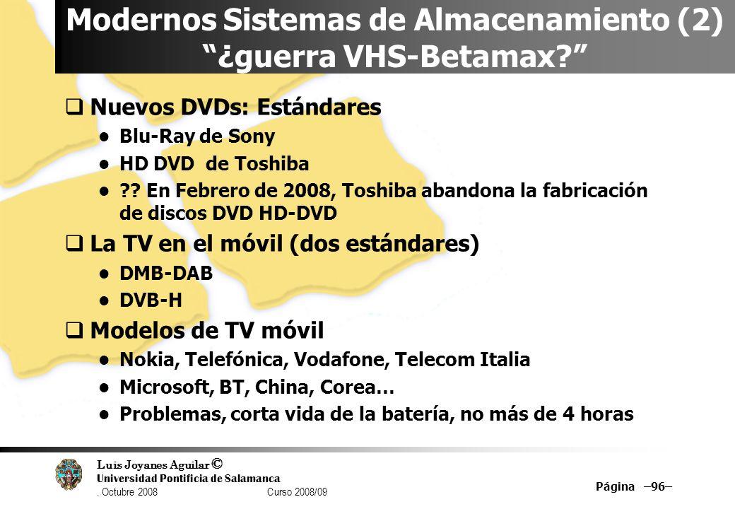 Luis Joyanes Aguilar © Universidad Pontificia de Salamanca. Octubre 2008 Curso 2008/09 Página –96– Modernos Sistemas de Almacenamiento (2) ¿guerra VHS