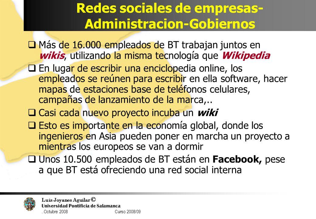 Luis Joyanes Aguilar © Universidad Pontificia de Salamanca. Octubre 2008 Curso 2008/09 Redes sociales de empresas- Administracion-Gobiernos Más de 16.