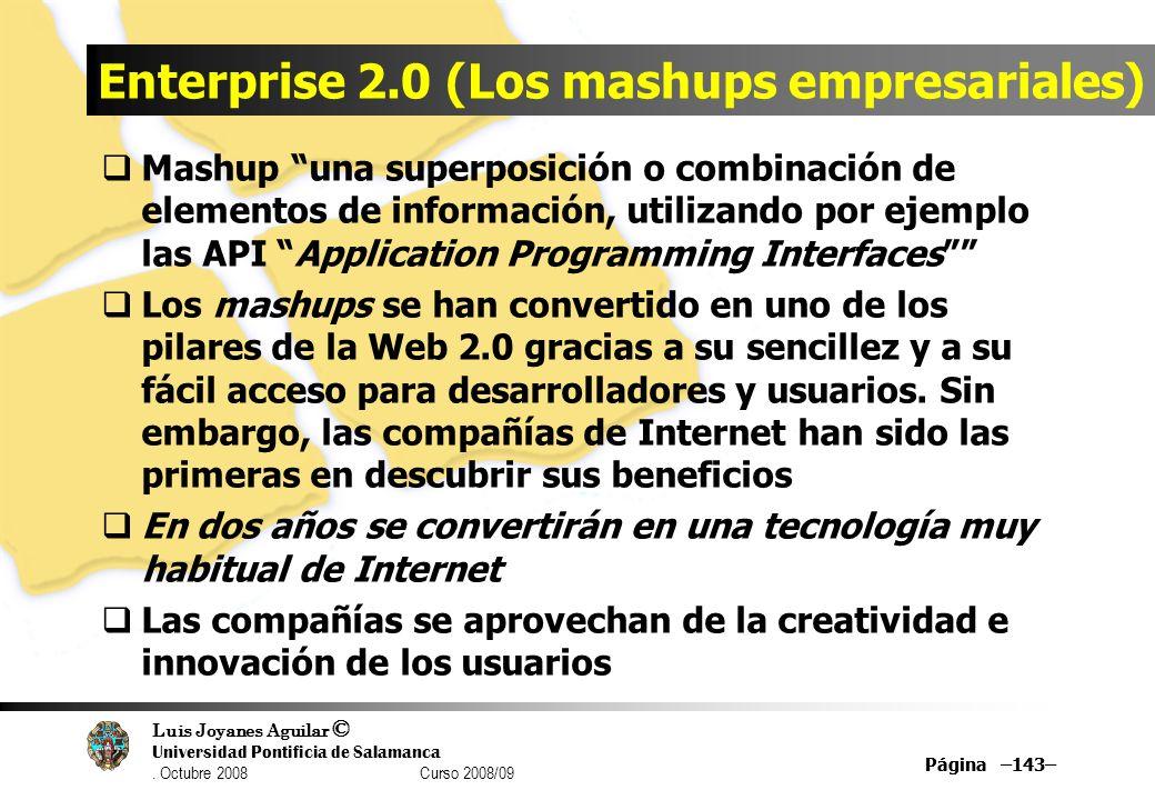 Luis Joyanes Aguilar © Universidad Pontificia de Salamanca. Octubre 2008 Curso 2008/09 Página –143– Enterprise 2.0 (Los mashups empresariales) Mashup