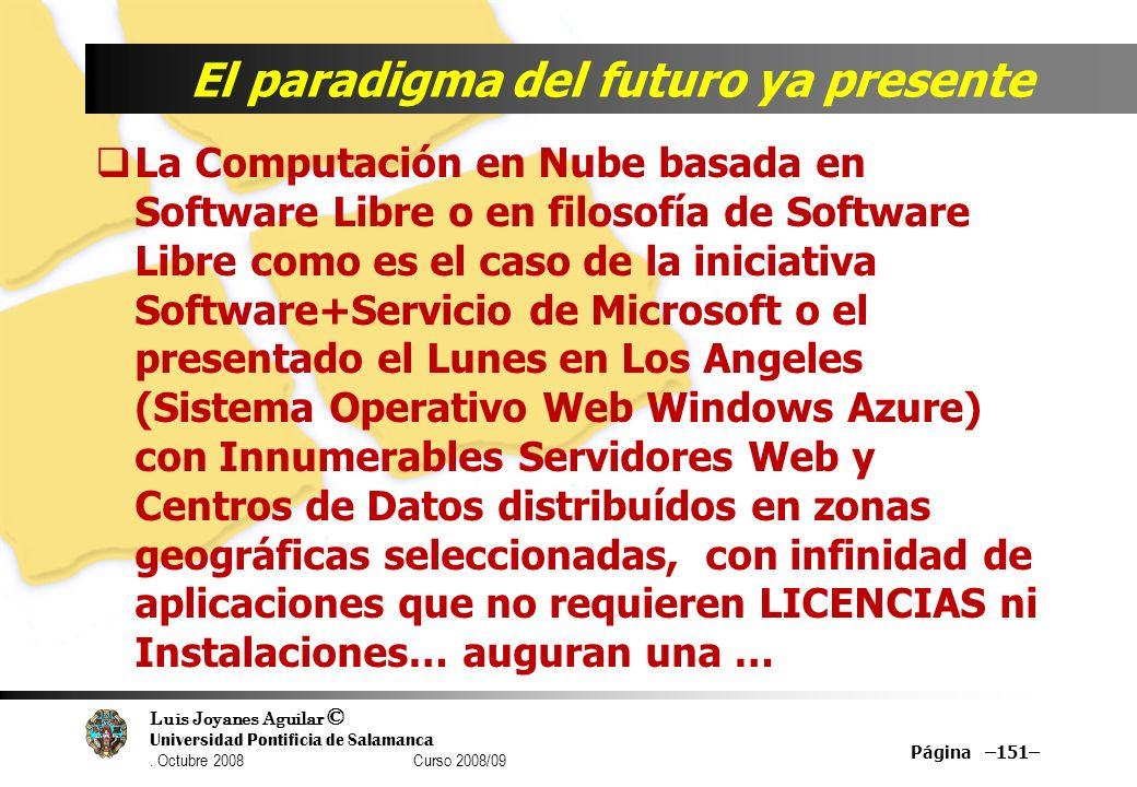 Luis Joyanes Aguilar © Universidad Pontificia de Salamanca. Octubre 2008 Curso 2008/09 Página –151– El paradigma del futuro ya presente La Computación