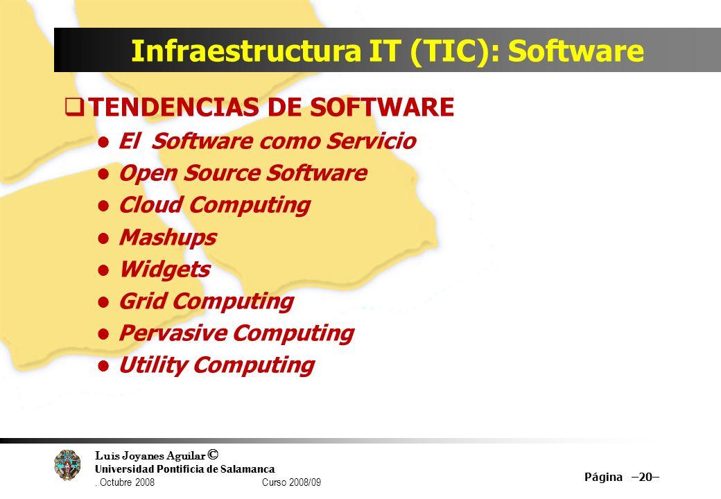 Luis Joyanes Aguilar © Universidad Pontificia de Salamanca. Octubre 2008 Curso 2008/09 Infraestructura IT (TIC): Software TENDENCIAS DE SOFTWARE El So