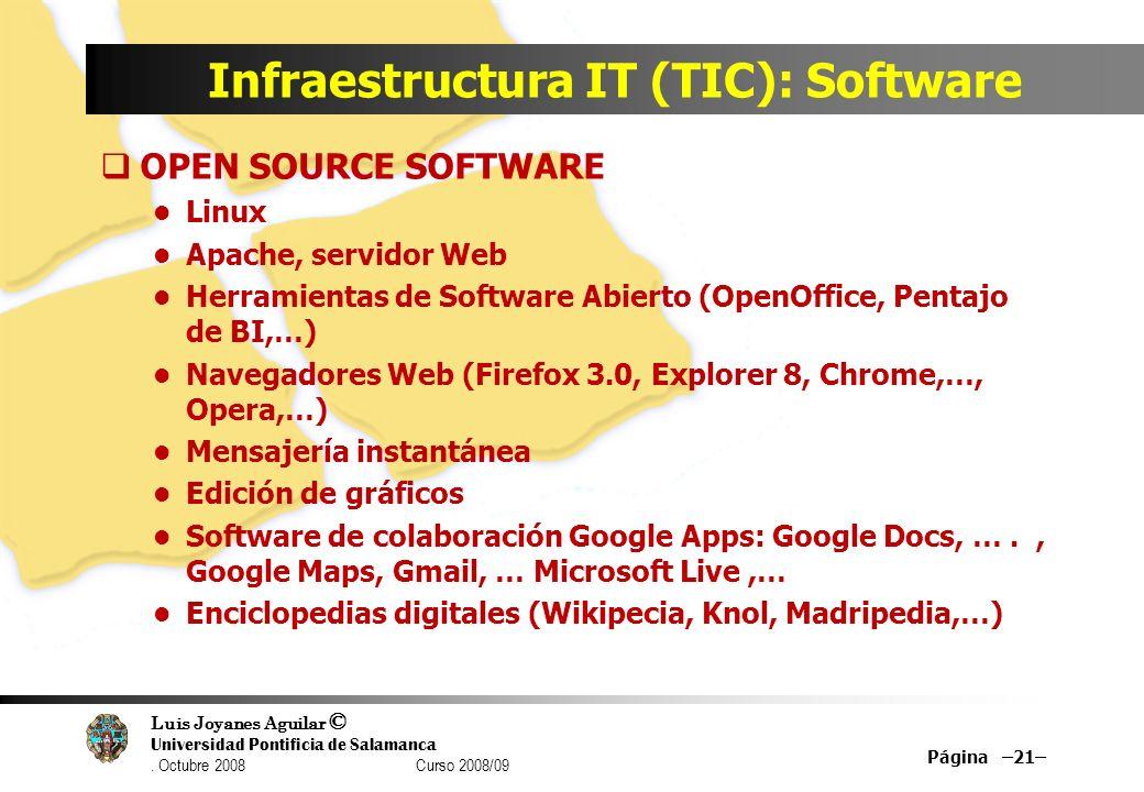 Luis Joyanes Aguilar © Universidad Pontificia de Salamanca. Octubre 2008 Curso 2008/09 Infraestructura IT (TIC): Software OPEN SOURCE SOFTWARE Linux A