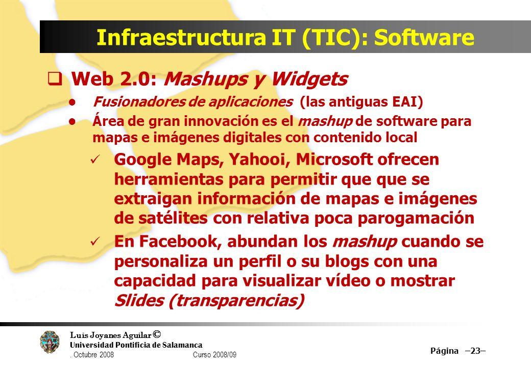 Luis Joyanes Aguilar © Universidad Pontificia de Salamanca. Octubre 2008 Curso 2008/09 Infraestructura IT (TIC): Software Web 2.0: Mashups y Widgets F