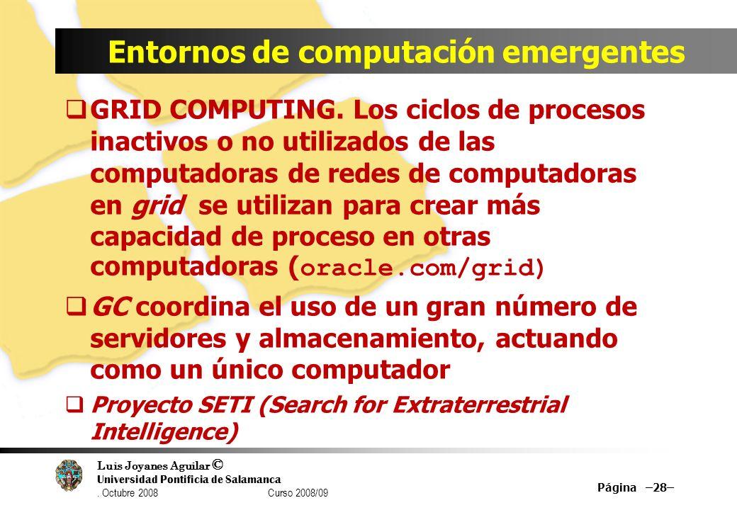 Luis Joyanes Aguilar © Universidad Pontificia de Salamanca. Octubre 2008 Curso 2008/09 Entornos de computación emergentes GRID COMPUTING. Los ciclos d