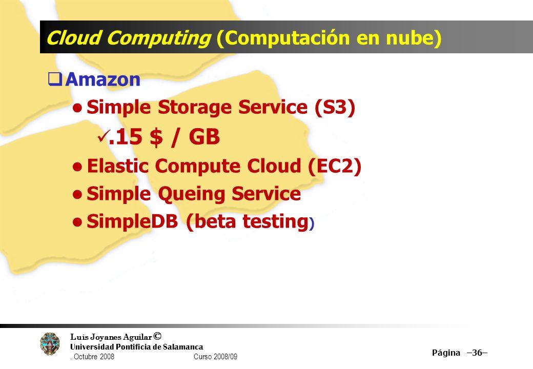 Luis Joyanes Aguilar © Universidad Pontificia de Salamanca. Octubre 2008 Curso 2008/09 Cloud Computing (Computación en nube) Amazon Simple Storage Ser