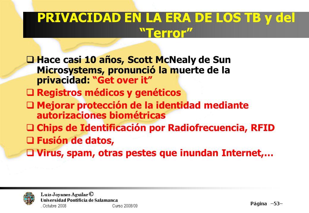 Luis Joyanes Aguilar © Universidad Pontificia de Salamanca. Octubre 2008 Curso 2008/09 Página –53– PRIVACIDAD EN LA ERA DE LOS TB y del Terror Hace ca