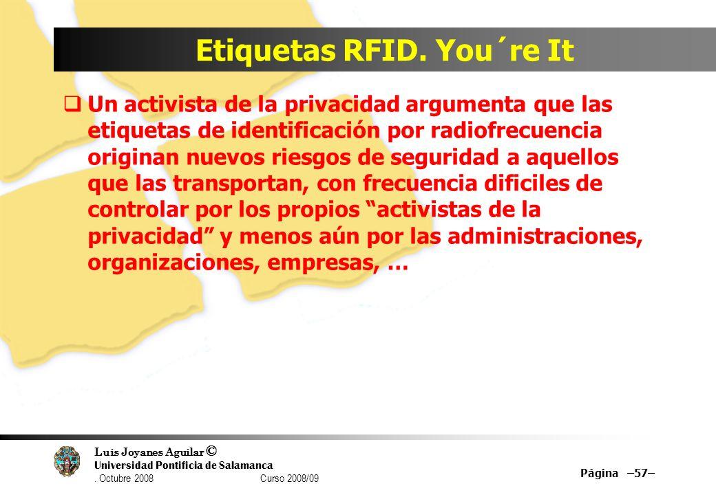 Luis Joyanes Aguilar © Universidad Pontificia de Salamanca. Octubre 2008 Curso 2008/09 Etiquetas RFID. You´re It Un activista de la privacidad argumen