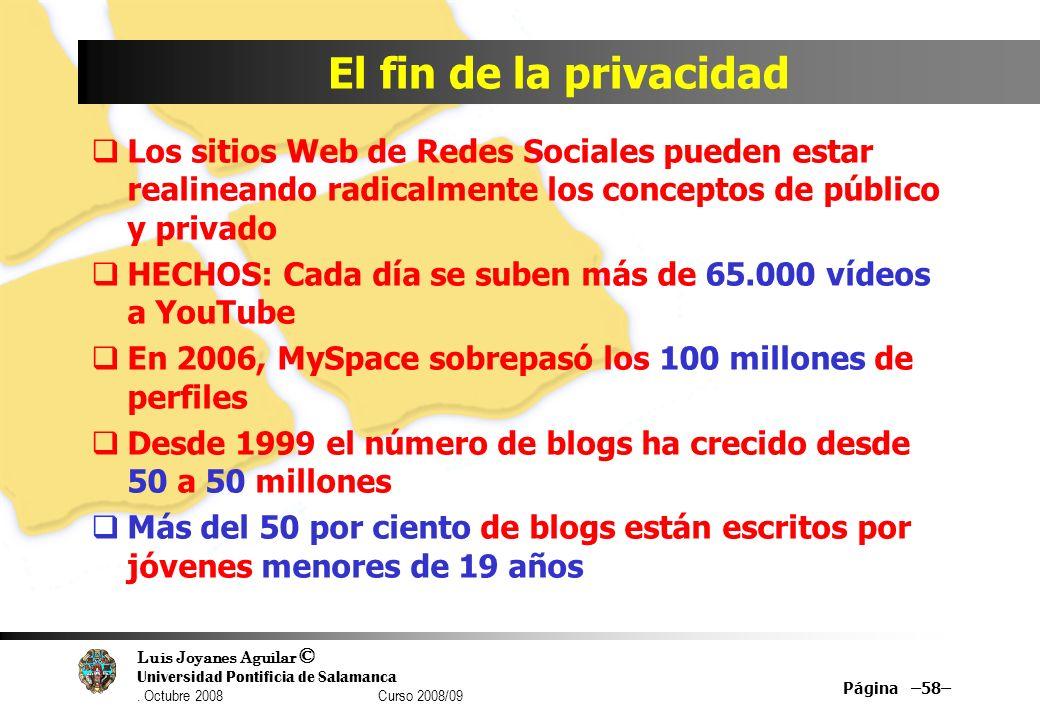Luis Joyanes Aguilar © Universidad Pontificia de Salamanca. Octubre 2008 Curso 2008/09 El fin de la privacidad Los sitios Web de Redes Sociales pueden
