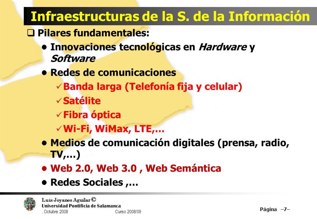Luis Joyanes Aguilar © Universidad Pontificia de Salamanca. Octubre 2008 Curso 2008/09 Página –7– Infraestructuras de la S. de la Información Pilares