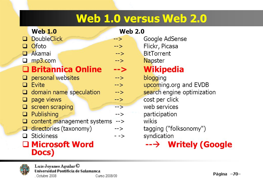 Luis Joyanes Aguilar © Universidad Pontificia de Salamanca. Octubre 2008 Curso 2008/09 Página –70– Web 1.0 versus Web 2.0 Web 1.0 Web 2.0 DoubleClick