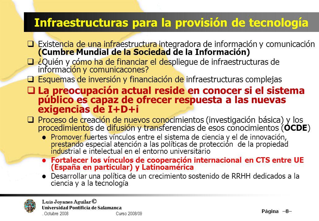 Luis Joyanes Aguilar © Universidad Pontificia de Salamanca. Octubre 2008 Curso 2008/09 Página –8– Infraestructuras para la provisión de tecnología Exi
