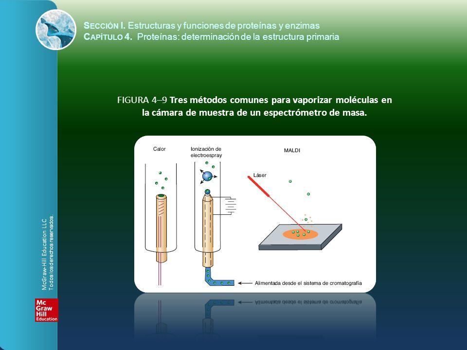 FIGURA 4–9 Tres métodos comunes para vaporizar moléculas en la cámara de muestra de un espectrómetro de masa. McGraw-Hill Education LLC Todos los dere