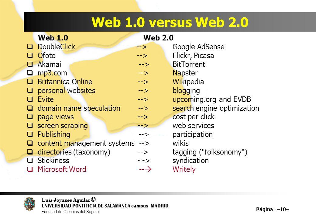 Luis Joyanes Aguilar © UNIVERSIDAD PONTIFICIA DE SALAMANCA campus MADRID Facultad de Ciencias del Seguro Página –10– Web 1.0 versus Web 2.0 Web 1.0 We