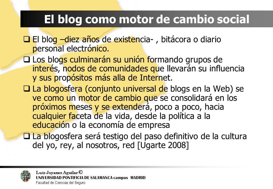 Luis Joyanes Aguilar © UNIVERSIDAD PONTIFICIA DE SALAMANCA campus MADRID Facultad de Ciencias del Seguro El blog como motor de cambio social El blog –