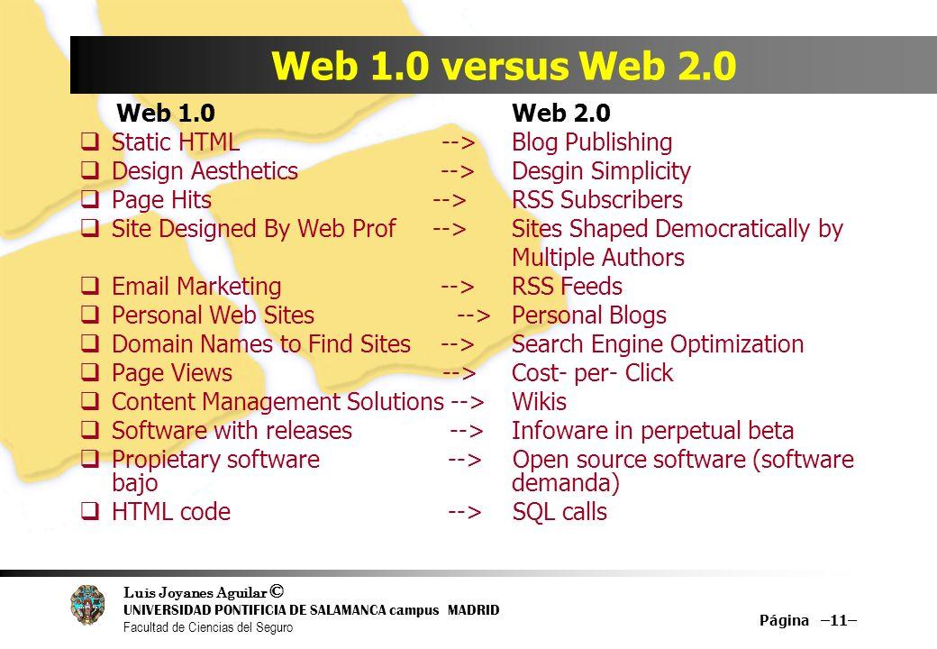 Luis Joyanes Aguilar © UNIVERSIDAD PONTIFICIA DE SALAMANCA campus MADRID Facultad de Ciencias del Seguro Página –11– Web 1.0 versus Web 2.0 Web 1.0 We