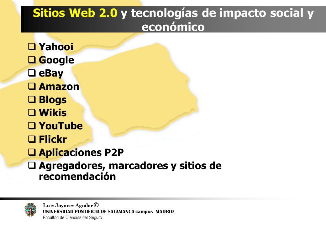 Luis Joyanes Aguilar © UNIVERSIDAD PONTIFICIA DE SALAMANCA campus MADRID Facultad de Ciencias del Seguro Sitios Web 2.0 y tecnologías de impacto socia