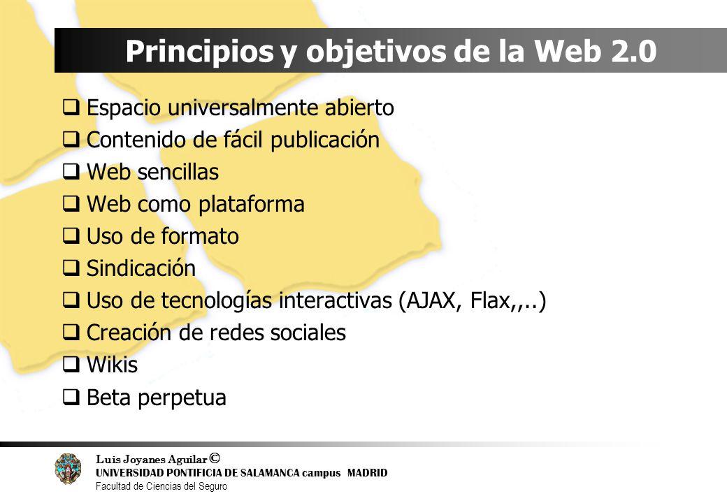 Luis Joyanes Aguilar © UNIVERSIDAD PONTIFICIA DE SALAMANCA campus MADRID Facultad de Ciencias del Seguro Principios y objetivos de la Web 2.0 Espacio