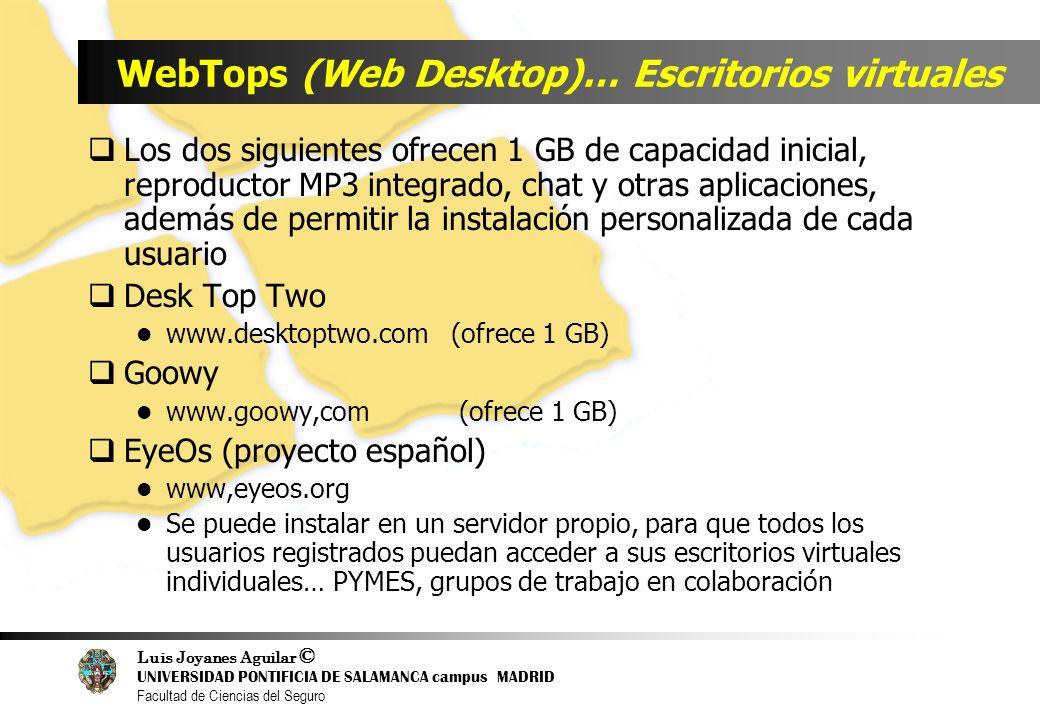 Luis Joyanes Aguilar © UNIVERSIDAD PONTIFICIA DE SALAMANCA campus MADRID Facultad de Ciencias del Seguro WebTops (Web Desktop)… Escritorios virtuales