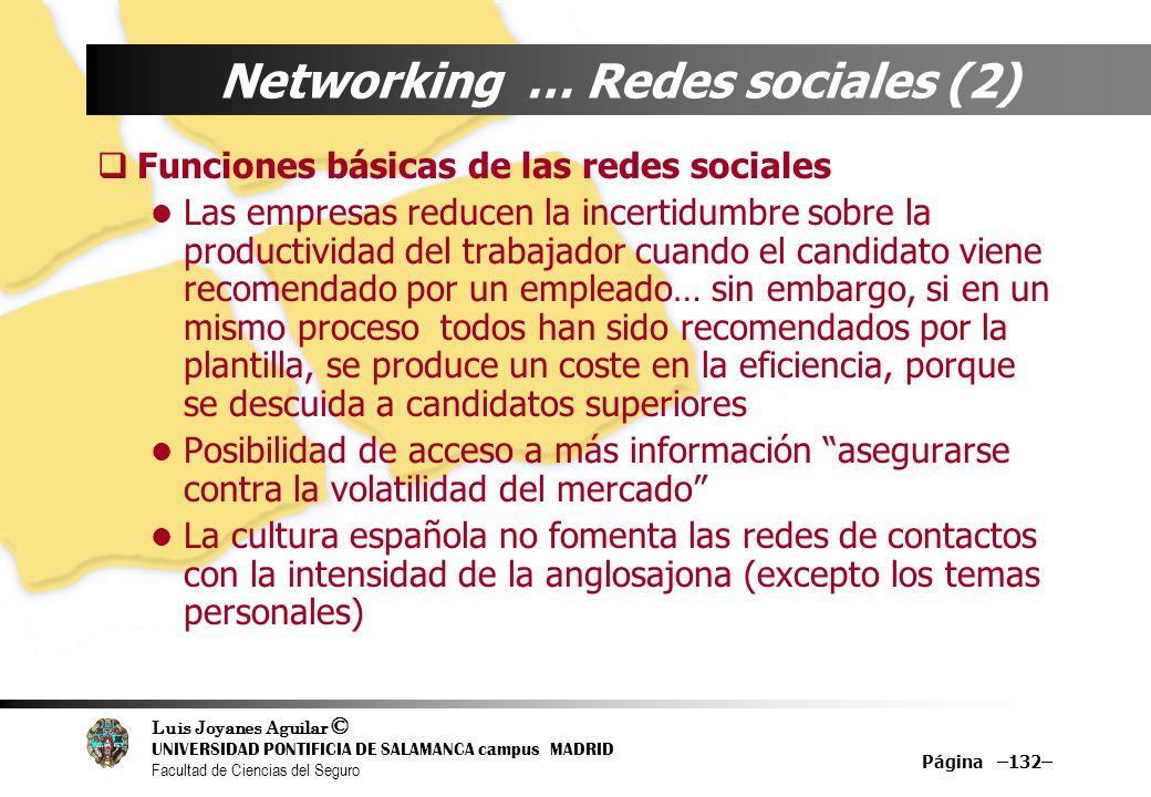 Luis Joyanes Aguilar © UNIVERSIDAD PONTIFICIA DE SALAMANCA campus MADRID Facultad de Ciencias del Seguro Página –132– Networking … Redes sociales (2)