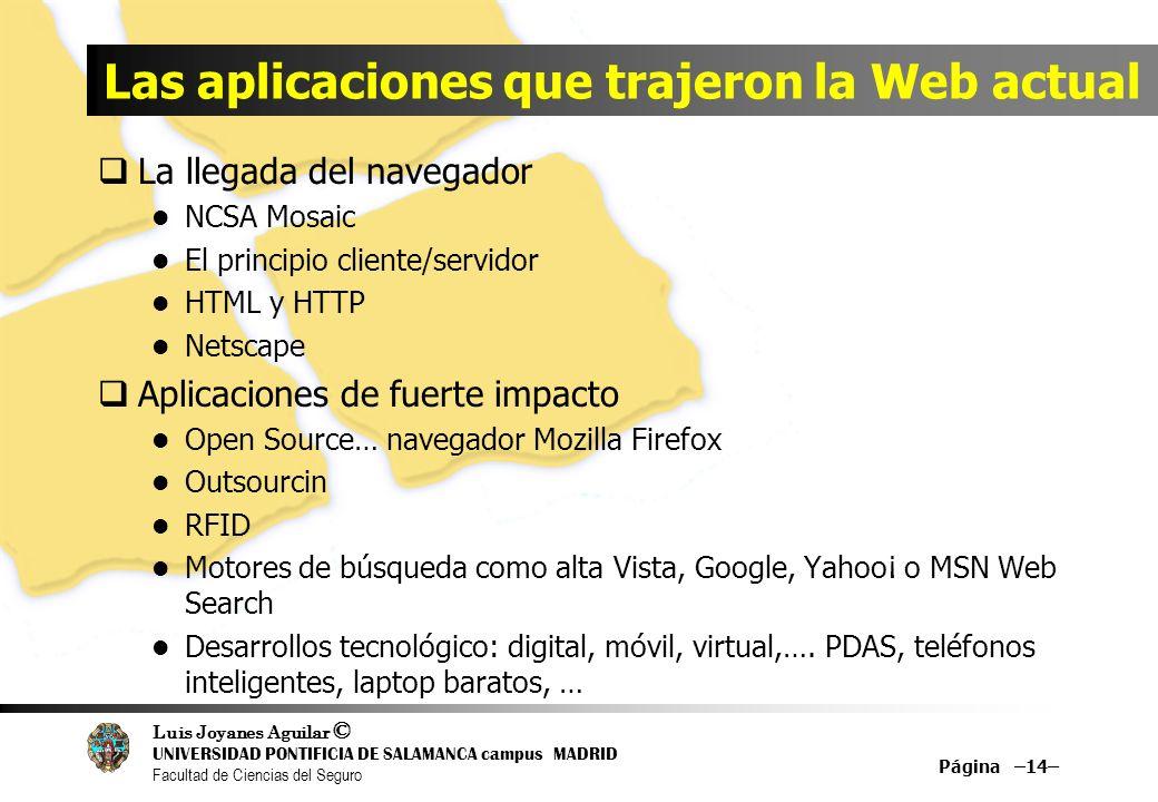 Luis Joyanes Aguilar © UNIVERSIDAD PONTIFICIA DE SALAMANCA campus MADRID Facultad de Ciencias del Seguro Las aplicaciones que trajeron la Web actual L