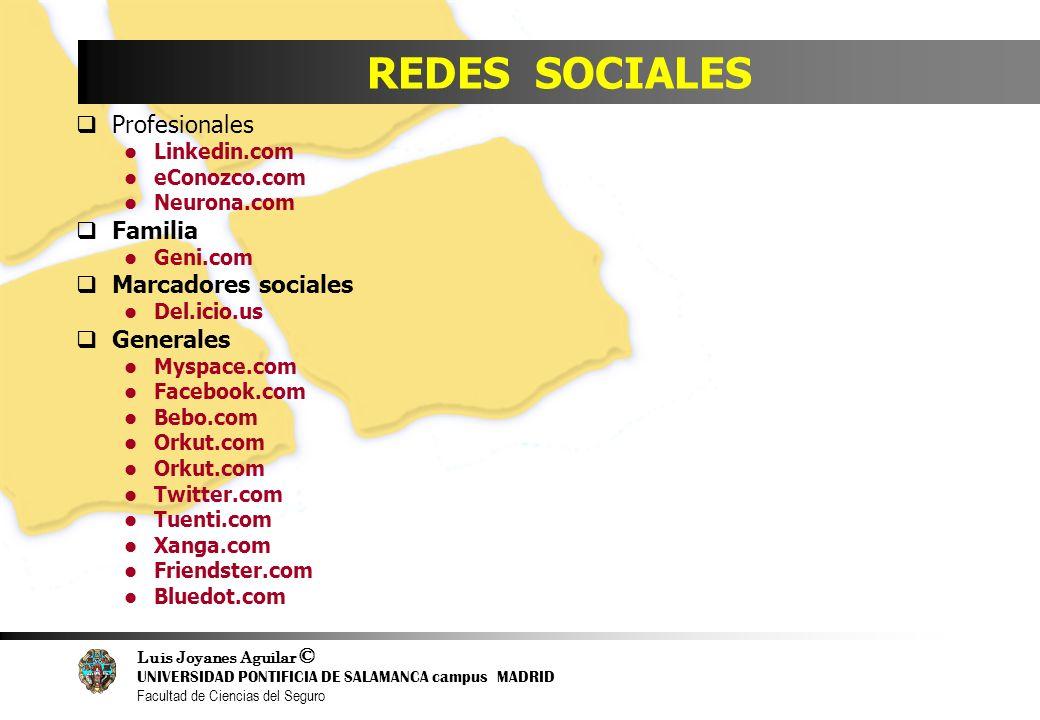 Luis Joyanes Aguilar © UNIVERSIDAD PONTIFICIA DE SALAMANCA campus MADRID Facultad de Ciencias del Seguro REDES SOCIALES Profesionales Linkedin.com eCo