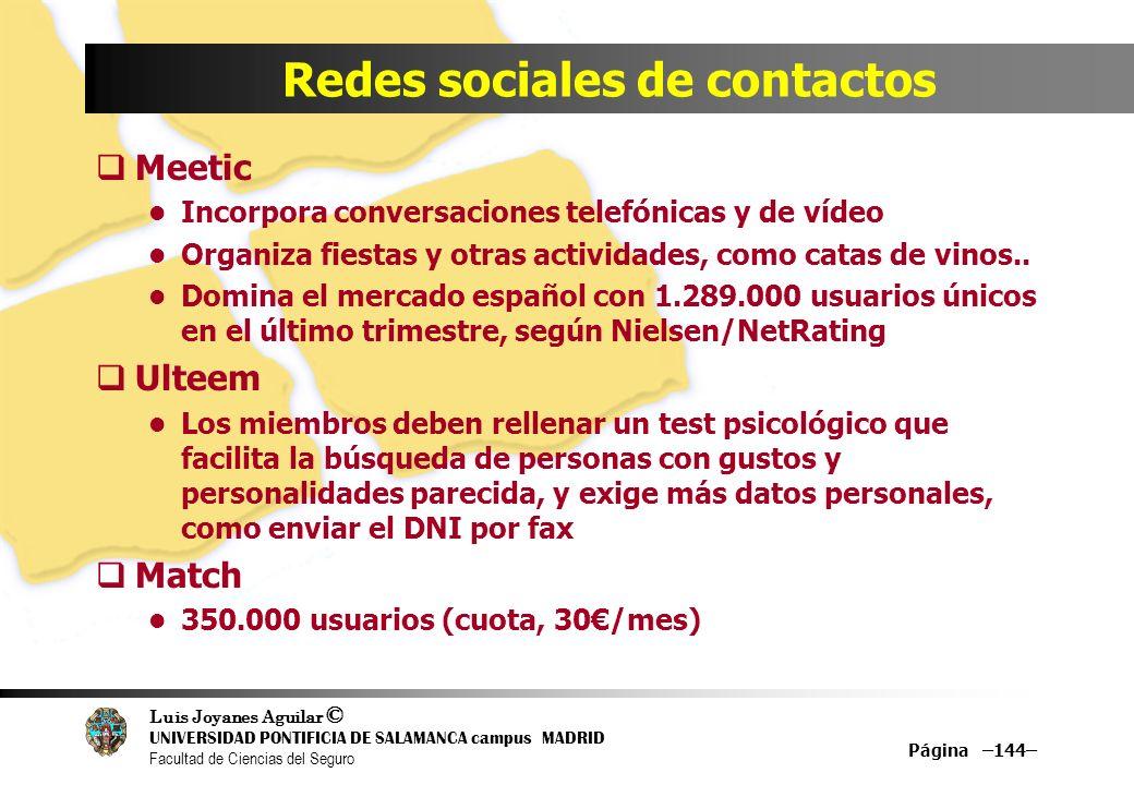 Luis Joyanes Aguilar © UNIVERSIDAD PONTIFICIA DE SALAMANCA campus MADRID Facultad de Ciencias del Seguro Página –144– Redes sociales de contactos Meet