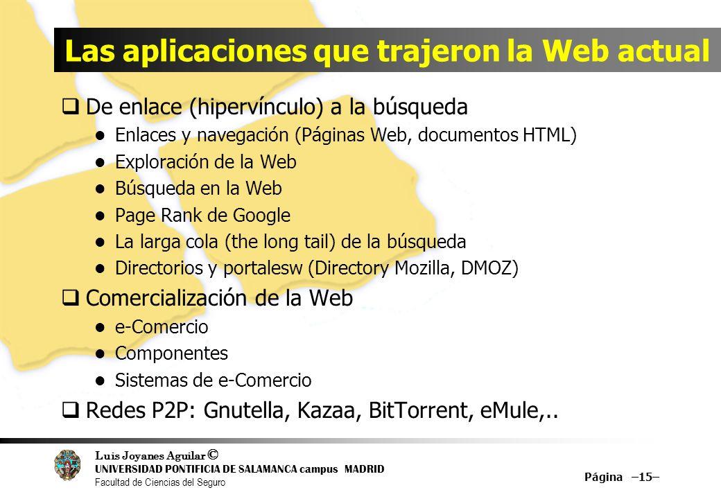 Luis Joyanes Aguilar © UNIVERSIDAD PONTIFICIA DE SALAMANCA campus MADRID Facultad de Ciencias del Seguro Las aplicaciones que trajeron la Web actual D
