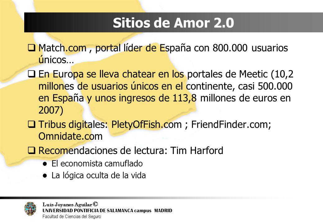 Luis Joyanes Aguilar © UNIVERSIDAD PONTIFICIA DE SALAMANCA campus MADRID Facultad de Ciencias del Seguro Sitios de Amor 2.0 Match.com, portal líder de