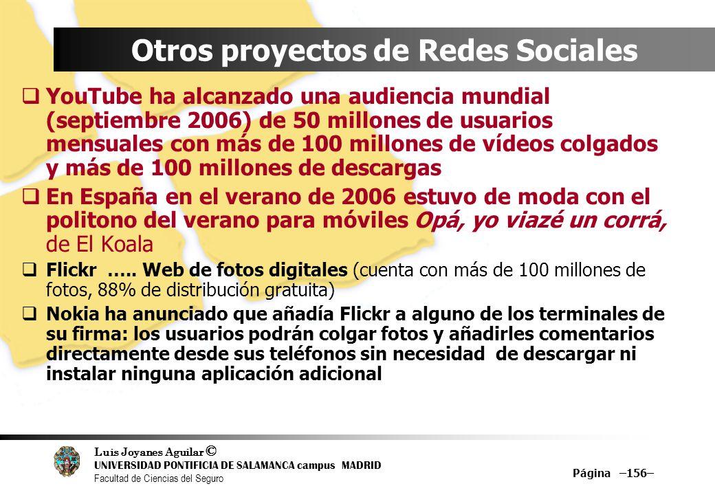 Luis Joyanes Aguilar © UNIVERSIDAD PONTIFICIA DE SALAMANCA campus MADRID Facultad de Ciencias del Seguro Página –156– Otros proyectos de Redes Sociale