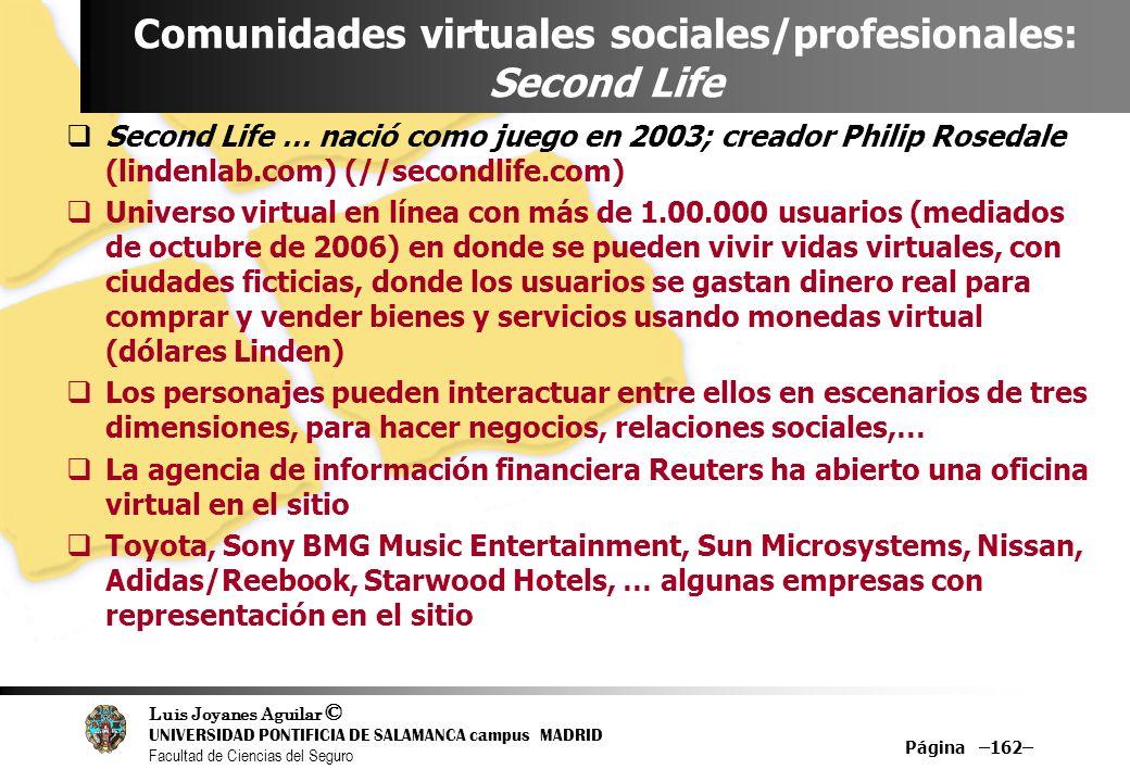 Luis Joyanes Aguilar © UNIVERSIDAD PONTIFICIA DE SALAMANCA campus MADRID Facultad de Ciencias del Seguro Página –162– Comunidades virtuales sociales/p