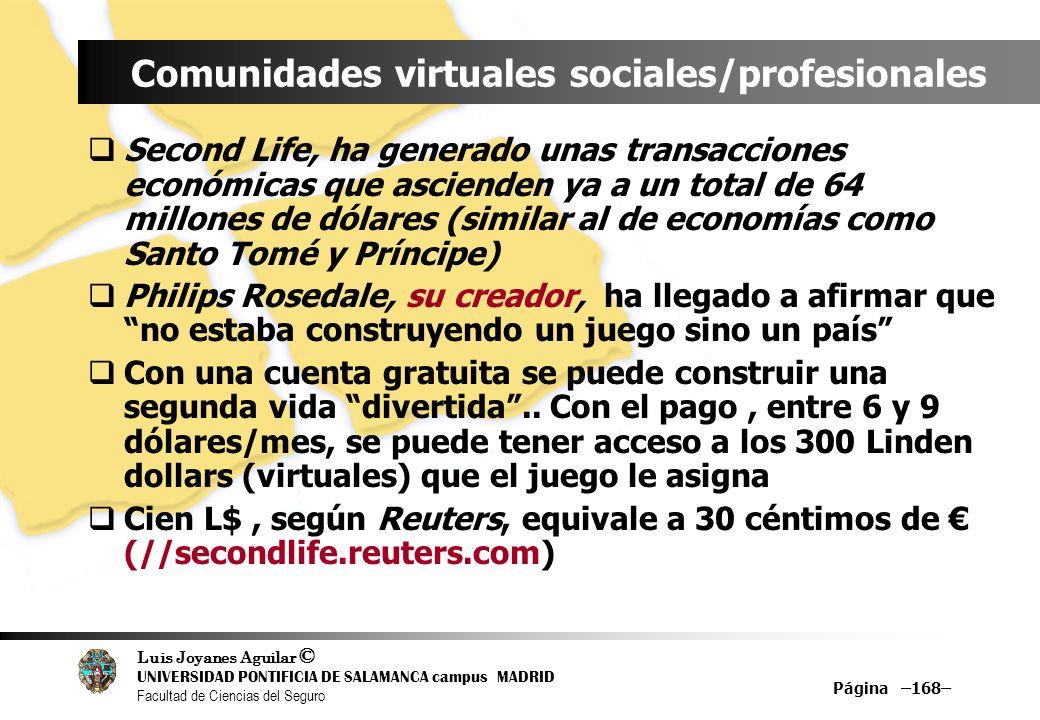 Luis Joyanes Aguilar © UNIVERSIDAD PONTIFICIA DE SALAMANCA campus MADRID Facultad de Ciencias del Seguro Página –168– Comunidades virtuales sociales/p