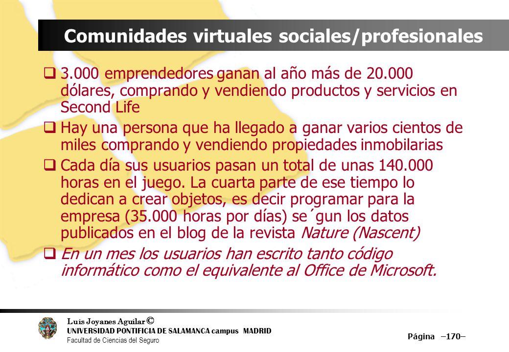Luis Joyanes Aguilar © UNIVERSIDAD PONTIFICIA DE SALAMANCA campus MADRID Facultad de Ciencias del Seguro Página –170– Comunidades virtuales sociales/p