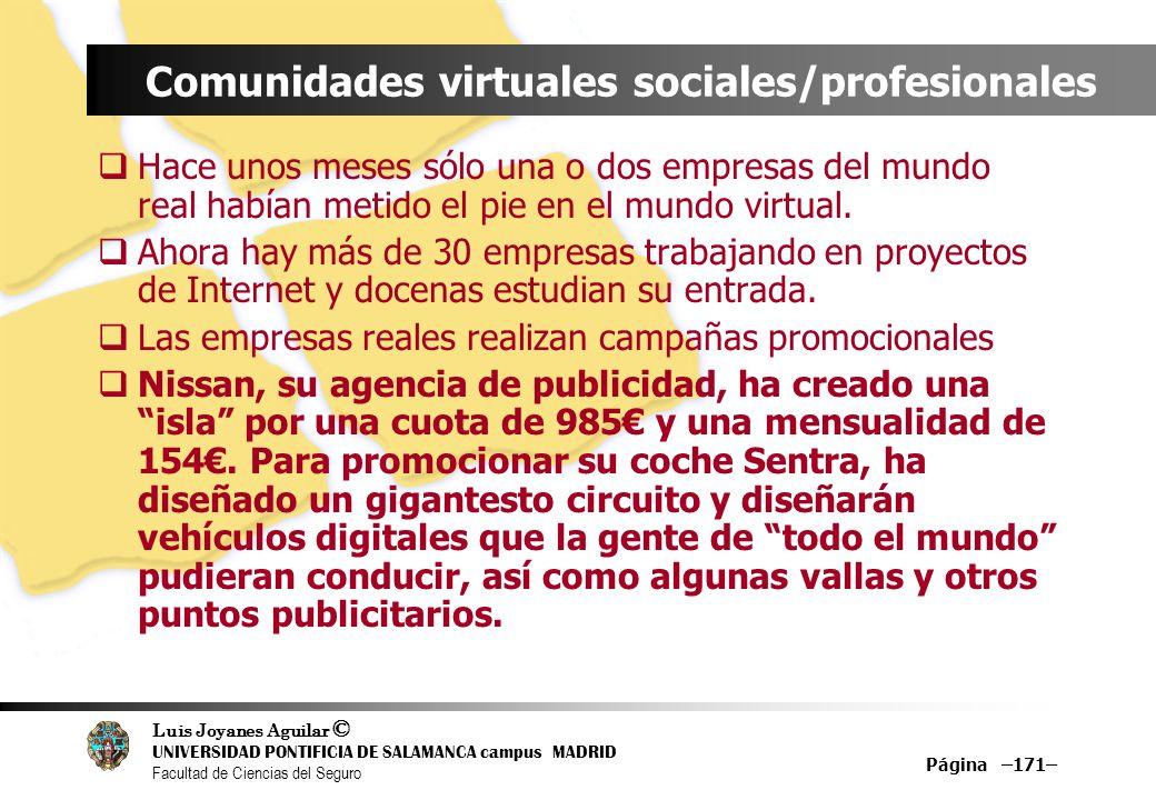 Luis Joyanes Aguilar © UNIVERSIDAD PONTIFICIA DE SALAMANCA campus MADRID Facultad de Ciencias del Seguro Página –171– Comunidades virtuales sociales/p