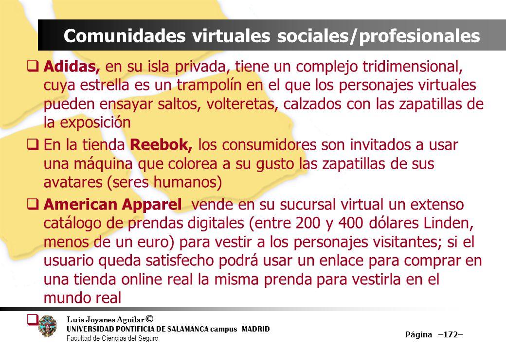 Luis Joyanes Aguilar © UNIVERSIDAD PONTIFICIA DE SALAMANCA campus MADRID Facultad de Ciencias del Seguro Página –172– Comunidades virtuales sociales/p
