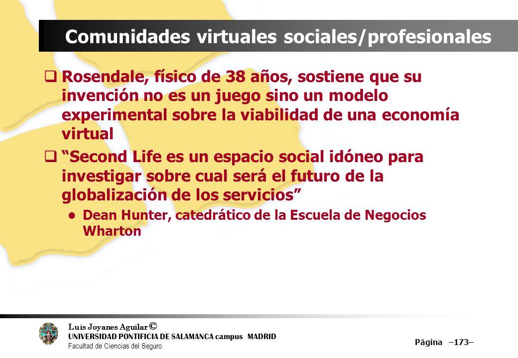 Luis Joyanes Aguilar © UNIVERSIDAD PONTIFICIA DE SALAMANCA campus MADRID Facultad de Ciencias del Seguro Página –173– Comunidades virtuales sociales/p